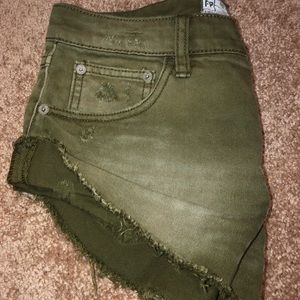 Olive green jean short-shorts
